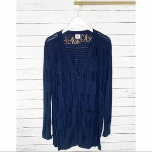 CAbi Classic Cardigan Navy Knit Ribbed Sweater